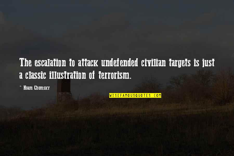 Civilian Quotes By Noam Chomsky: The escalation to attack undefended civilian targets is
