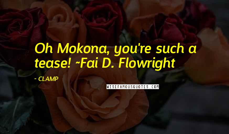 CLAMP quotes: Oh Mokona, you're such a tease! ~Fai D. Flowright