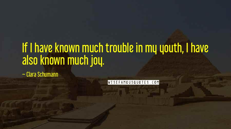Clara Schumann quotes: If I have known much trouble in my youth, I have also known much joy.