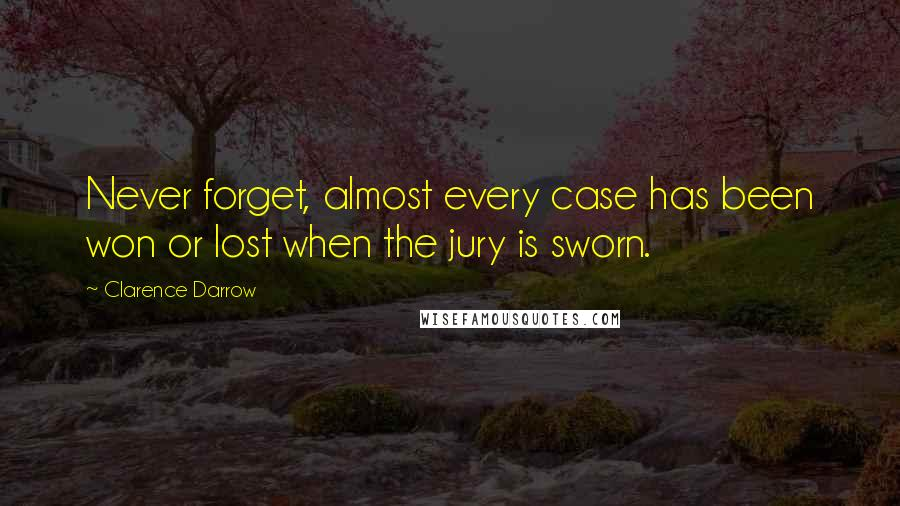 Clarence Darrow quotes: Never forget, almost every case has been won or lost when the jury is sworn.