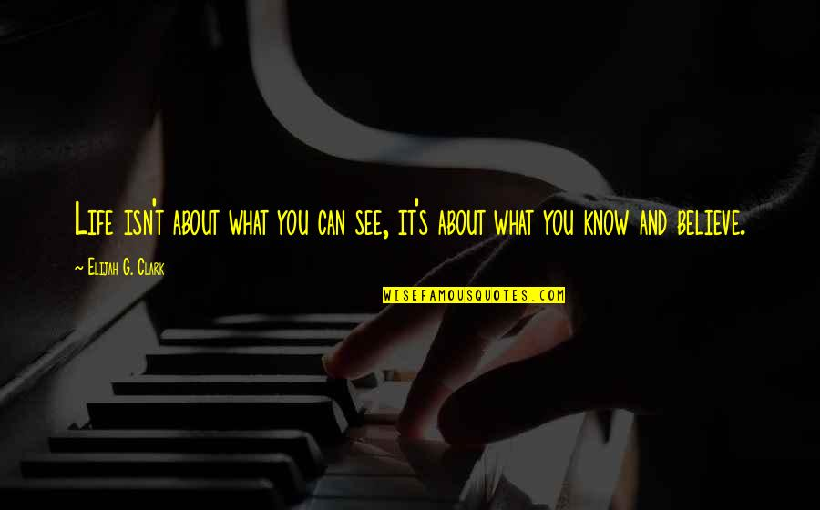 Clark's Quotes By Elijah G. Clark: Life isn't about what you can see, it's
