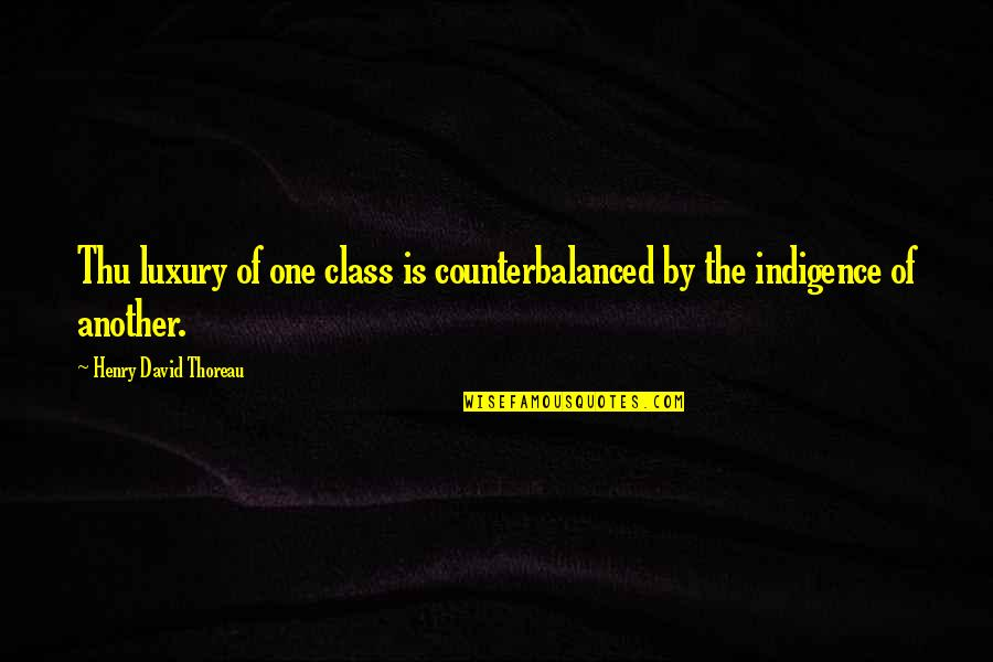 Class Struggle Quotes By Henry David Thoreau: Thu luxury of one class is counterbalanced by