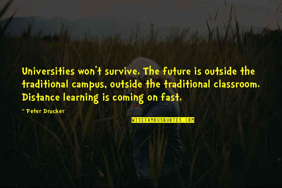 Classroom Learning Quotes By Peter Drucker: Universities won't survive. The future is outside the