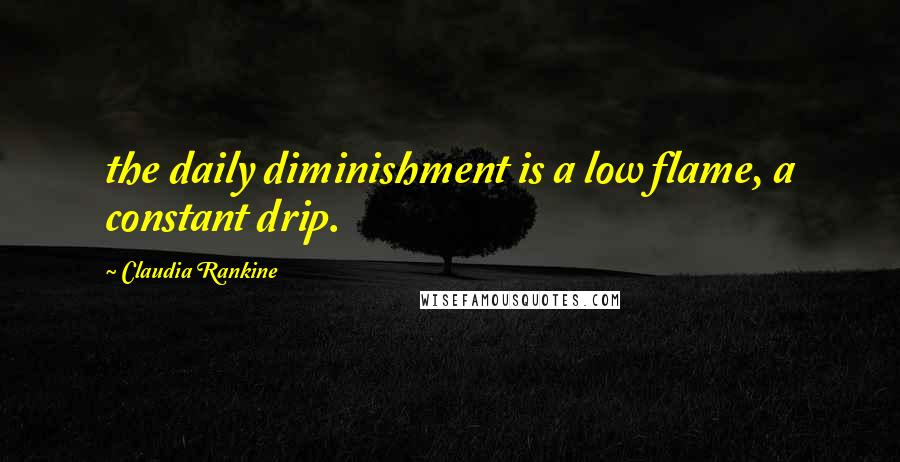 Claudia Rankine quotes: the daily diminishment is a low flame, a constant drip.