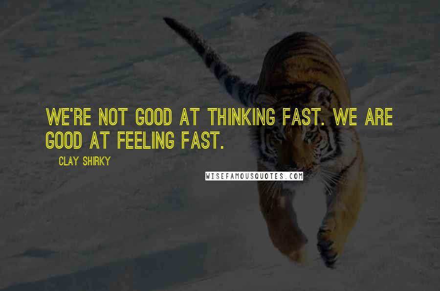Clay Shirky quotes: We're not good at thinking fast. We are good at feeling fast.
