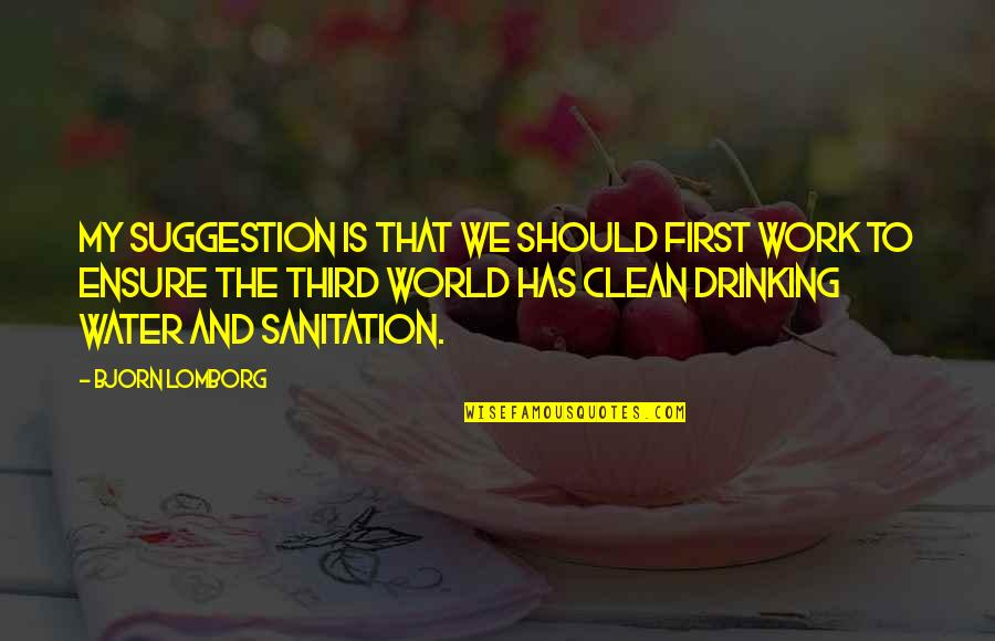 Clean Drinking Water Quotes By Bjorn Lomborg: My suggestion is that we should first work