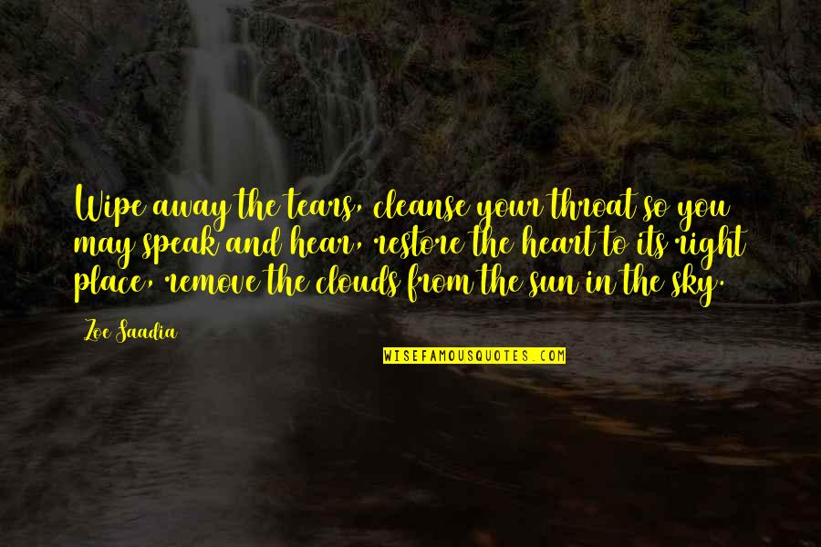 Cleanse Your Heart Quotes By Zoe Saadia: Wipe away the tears, cleanse your throat so