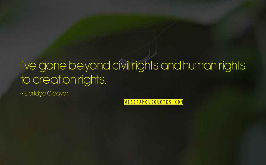 Cleaver Quotes By Eldridge Cleaver: I've gone beyond civil rights and human rights