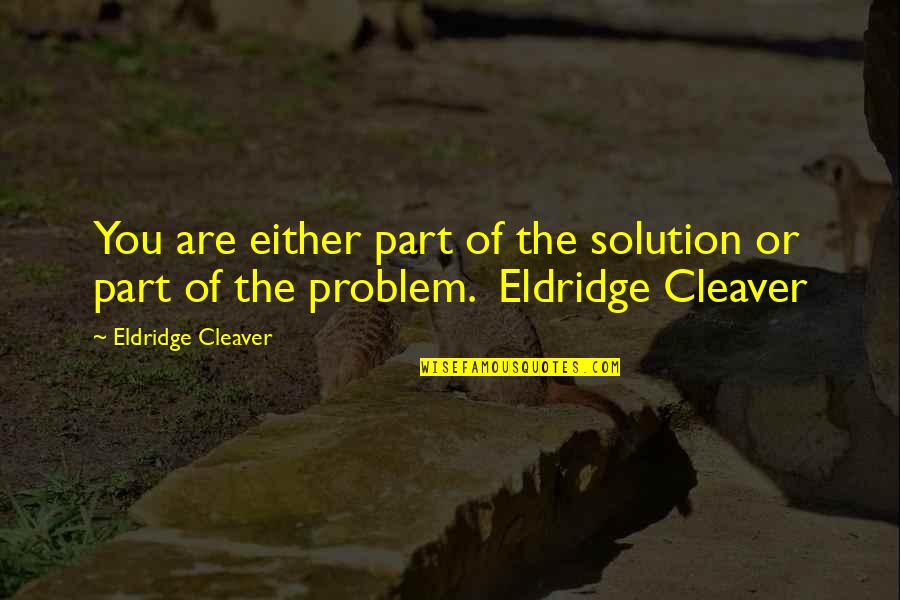 Cleaver Quotes By Eldridge Cleaver: You are either part of the solution or