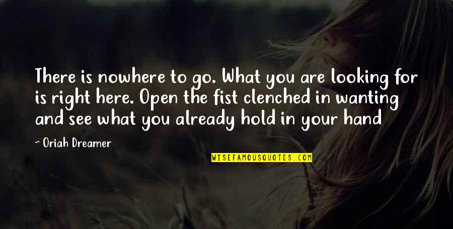 Clenched Fists Quotes By Oriah Dreamer: There is nowhere to go. What you are