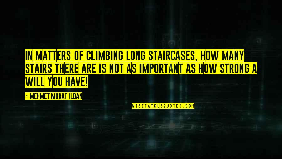 Climbing Up The Stairs Quotes By Mehmet Murat Ildan: In matters of climbing long staircases, how many