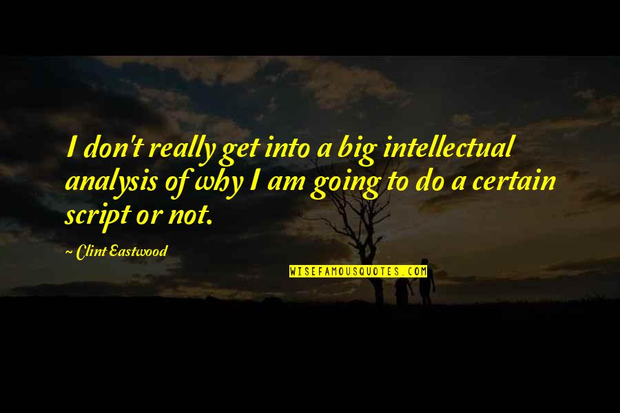 Clint Quotes By Clint Eastwood: I don't really get into a big intellectual