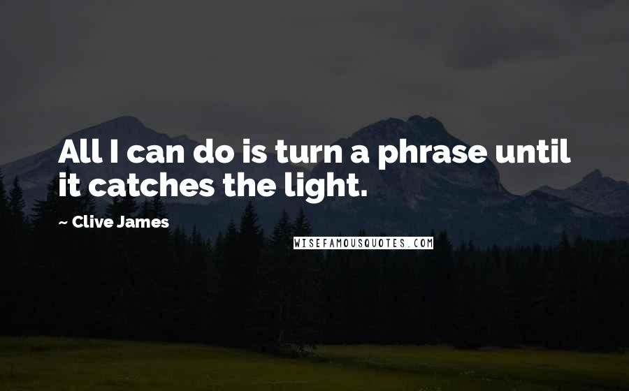 Clive James quotes: All I can do is turn a phrase until it catches the light.