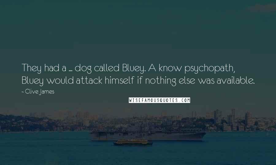 Clive James quotes: They had a ... dog called Bluey. A know psychopath, Bluey would attack himself if nothing else was available.
