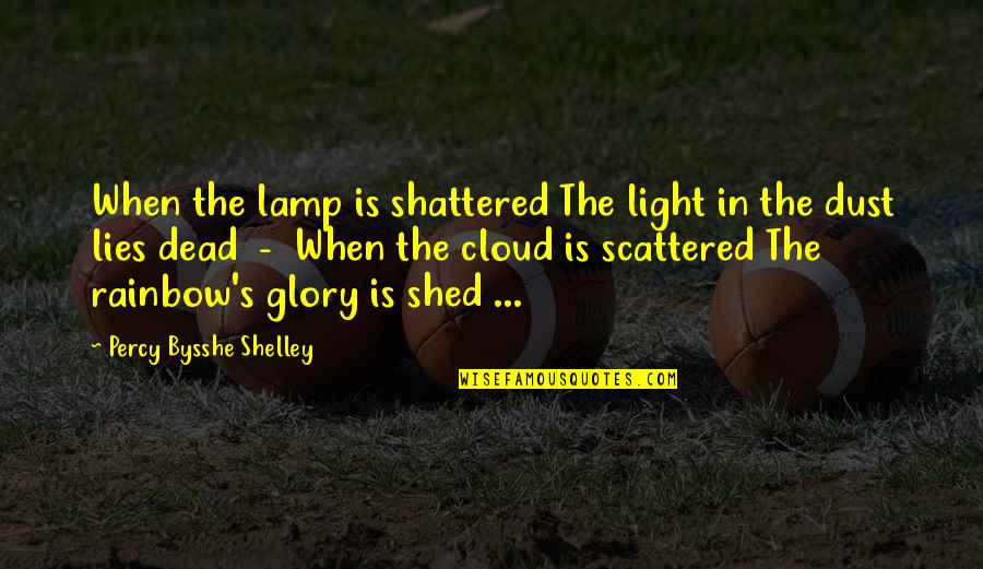 Clouds And Light Quotes By Percy Bysshe Shelley: When the lamp is shattered The light in