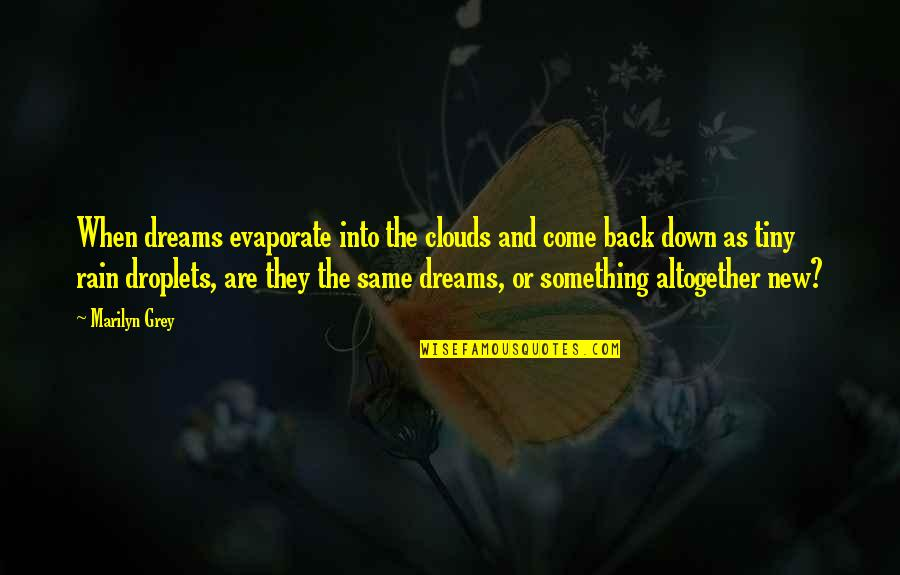 Clouds And Rain Quotes By Marilyn Grey: When dreams evaporate into the clouds and come