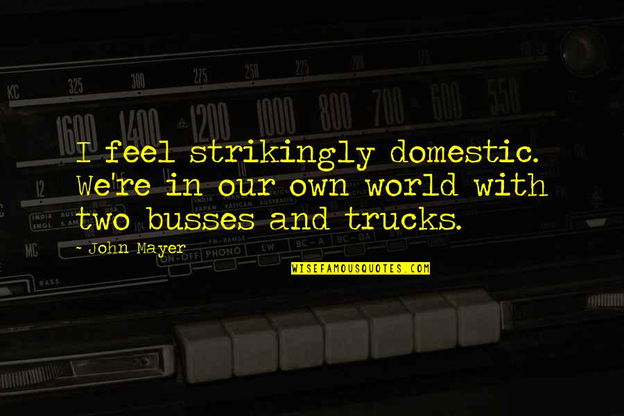 Clunkily Quotes By John Mayer: I feel strikingly domestic. We're in our own