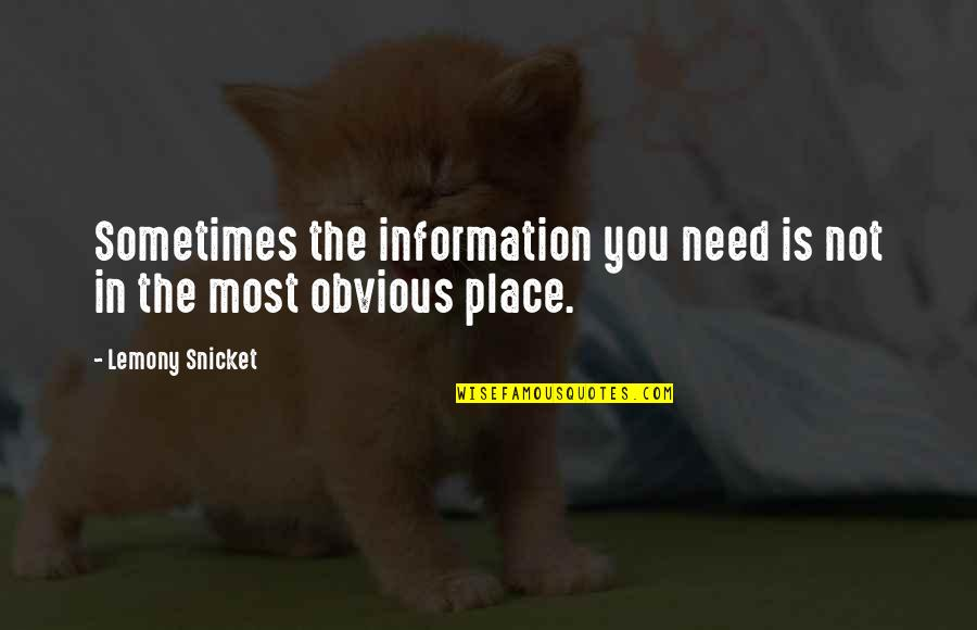 Clunkily Quotes By Lemony Snicket: Sometimes the information you need is not in