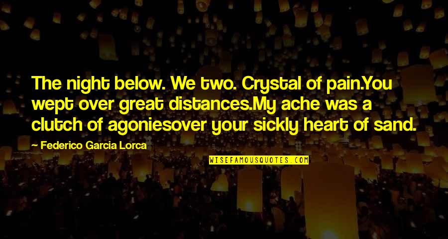Clutch Quotes By Federico Garcia Lorca: The night below. We two. Crystal of pain.You