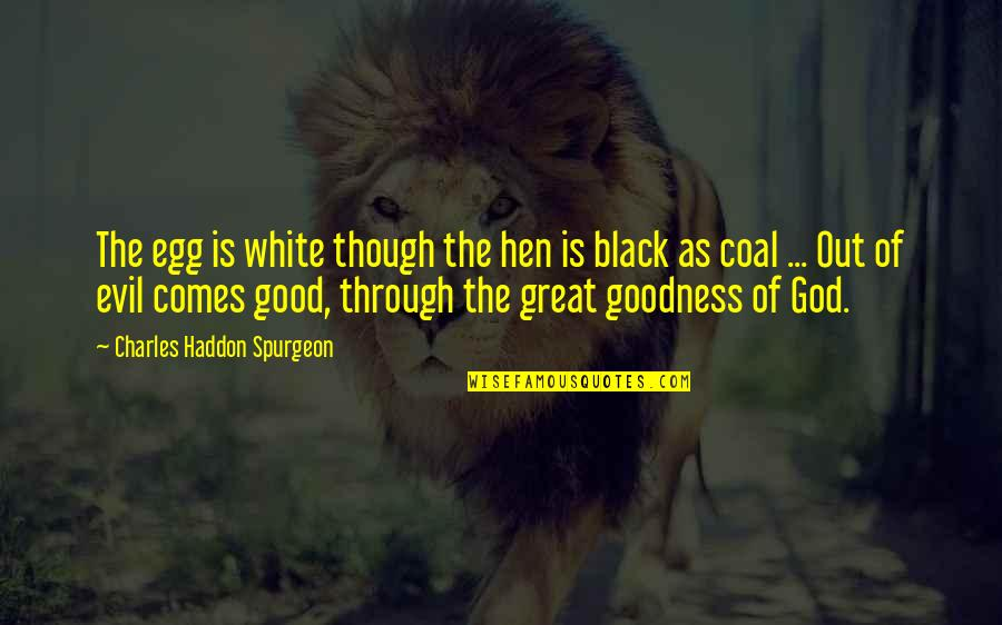 Coal Quotes By Charles Haddon Spurgeon: The egg is white though the hen is