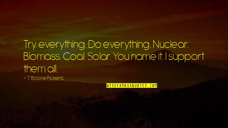 Coal Quotes By T. Boone Pickens: Try everything. Do everything. Nuclear. Biomass. Coal. Solar.