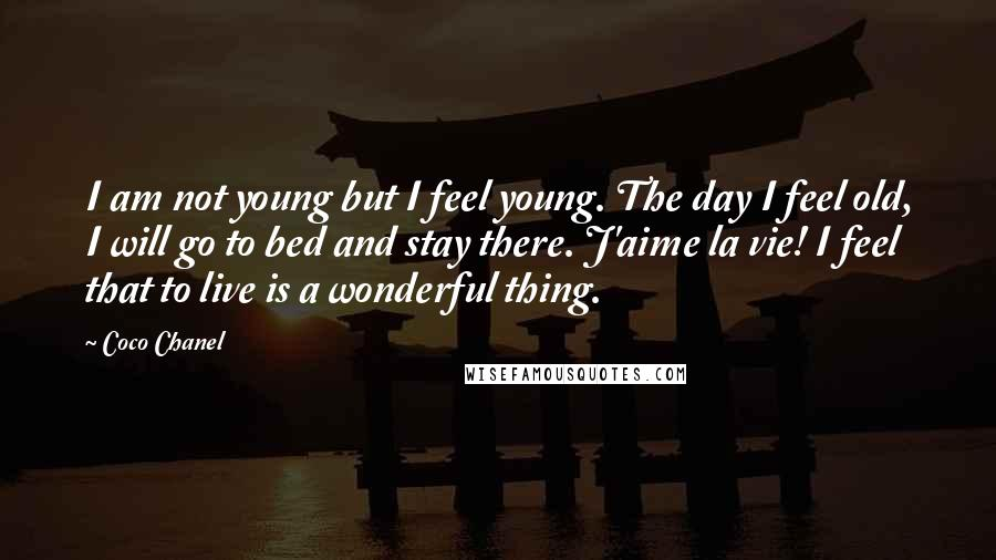 Coco Chanel quotes: I am not young but I feel young. The day I feel old, I will go to bed and stay there. J'aime la vie! I feel that to live is