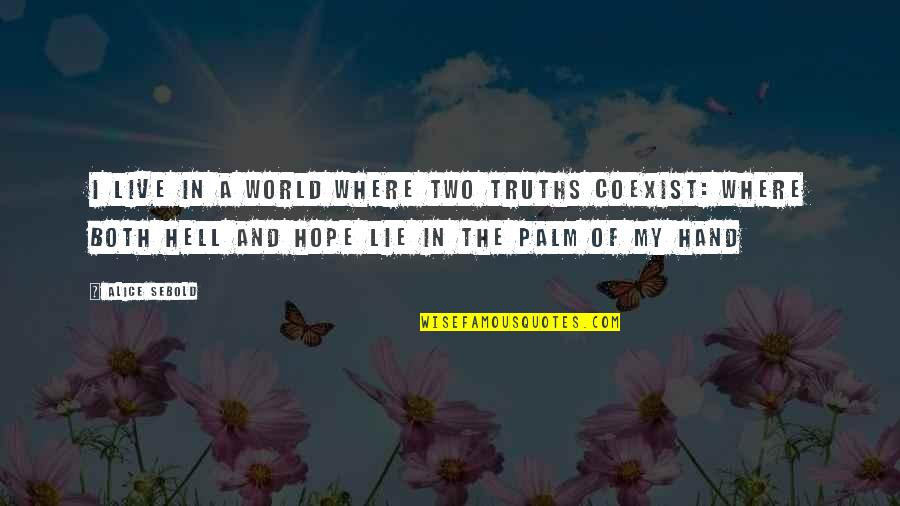 Coexist Quotes By Alice Sebold: I live in a world where two truths