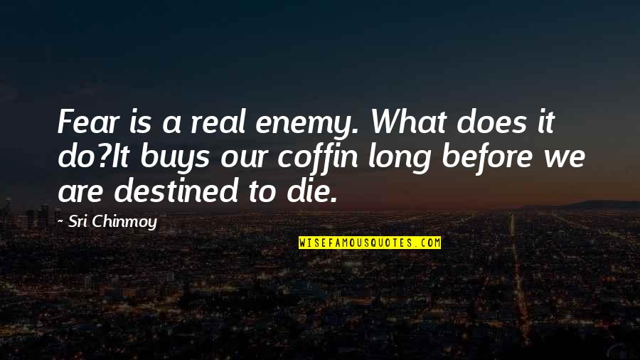 Coffin'd Quotes By Sri Chinmoy: Fear is a real enemy. What does it