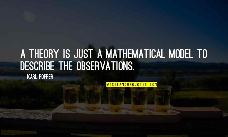 Cogsy Quotes By Karl Popper: A theory is just a mathematical model to