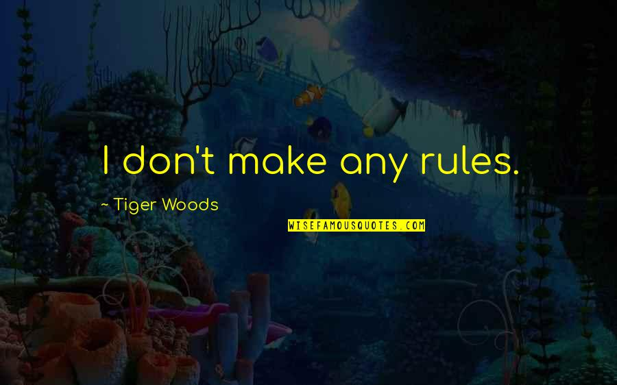 Coh Tiger Quotes By Tiger Woods: I don't make any rules.