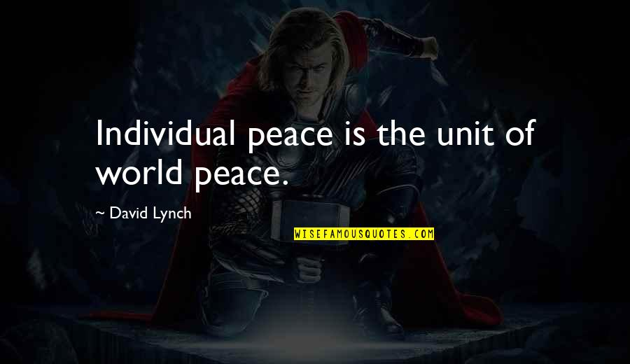 Coh Units Quotes By David Lynch: Individual peace is the unit of world peace.
