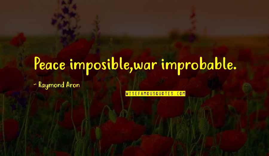 Cold War Quotes By Raymond Aron: Peace imposible,war improbable.