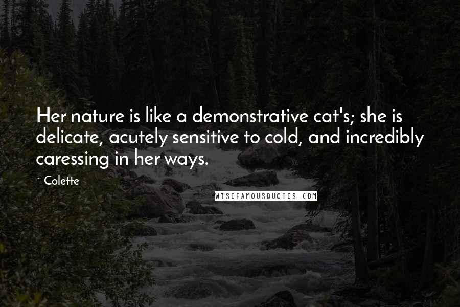 Colette quotes: Her nature is like a demonstrative cat's; she is delicate, acutely sensitive to cold, and incredibly caressing in her ways.
