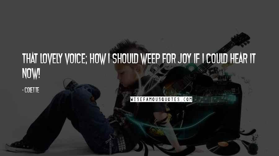 Colette quotes: That lovely voice; how I should weep for joy if I could hear it now!