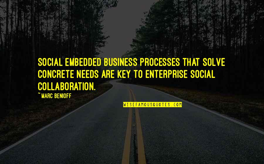 Collaboration In Business Quotes By Marc Benioff: Social embedded business processes that solve concrete needs
