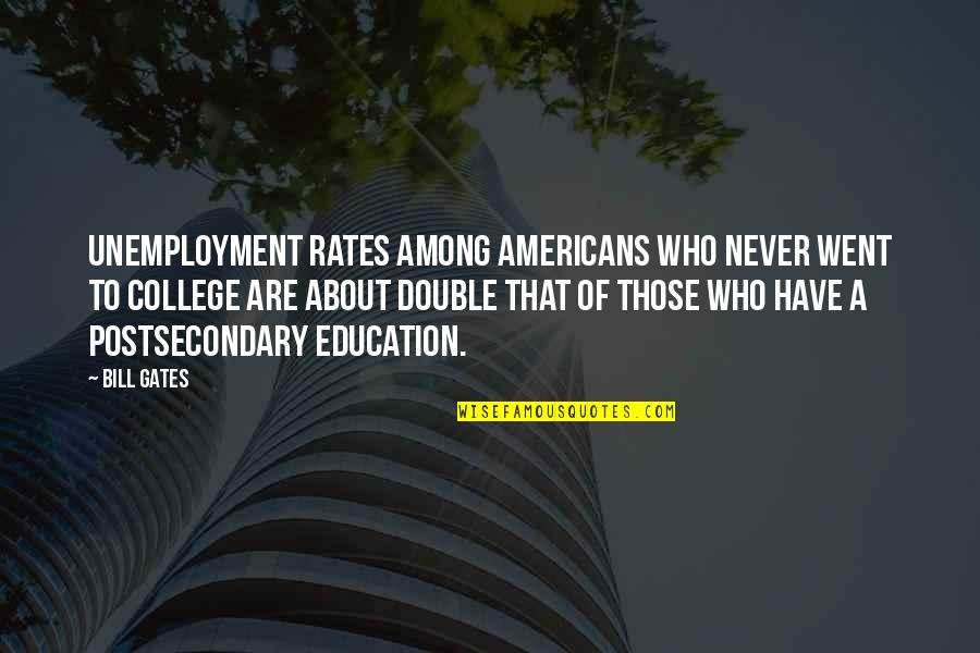 College Education Quotes By Bill Gates: Unemployment rates among Americans who never went to