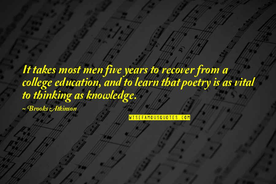 College Education Quotes By Brooks Atkinson: It takes most men five years to recover