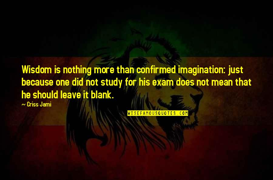 College Education Quotes By Criss Jami: Wisdom is nothing more than confirmed imagination: just
