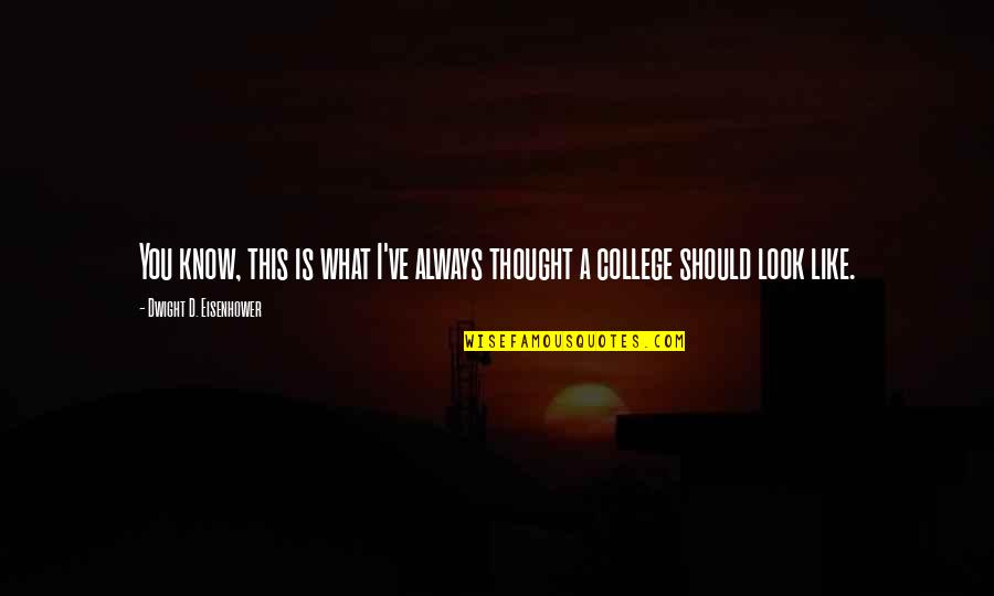 College Education Quotes By Dwight D. Eisenhower: You know, this is what I've always thought