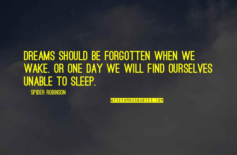 College Essay Examples With Quotes By Spider Robinson: Dreams should be forgotten when we wake. Or