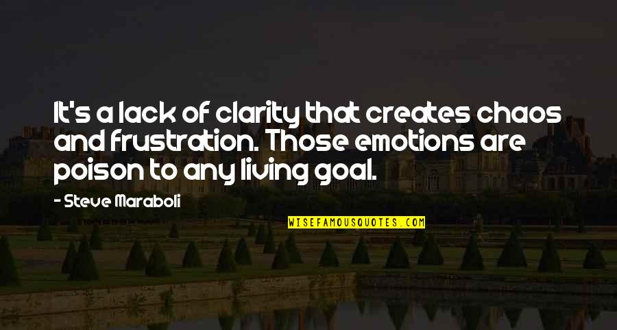 Collen Quotes By Steve Maraboli: It's a lack of clarity that creates chaos
