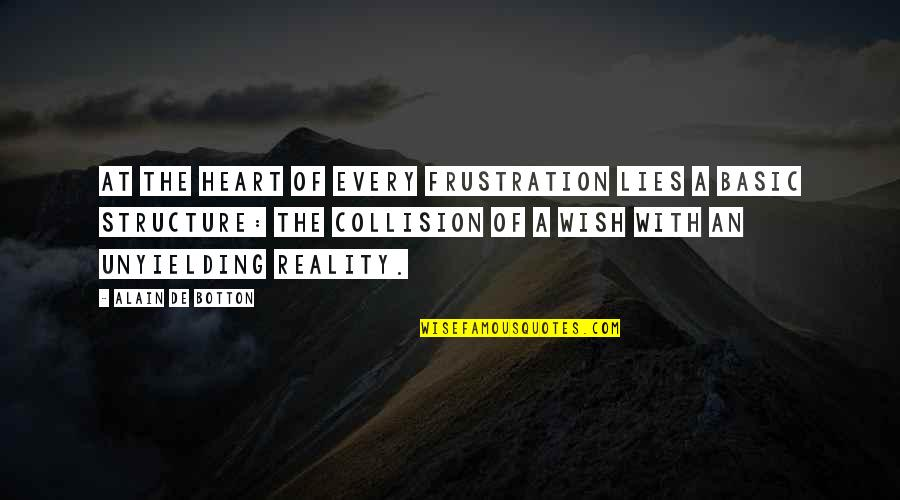 Collision Quotes By Alain De Botton: At the heart of every frustration lies a
