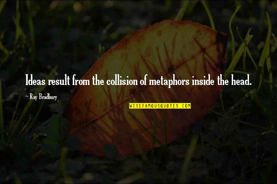Collision Quotes By Ray Bradbury: Ideas result from the collision of metaphors inside