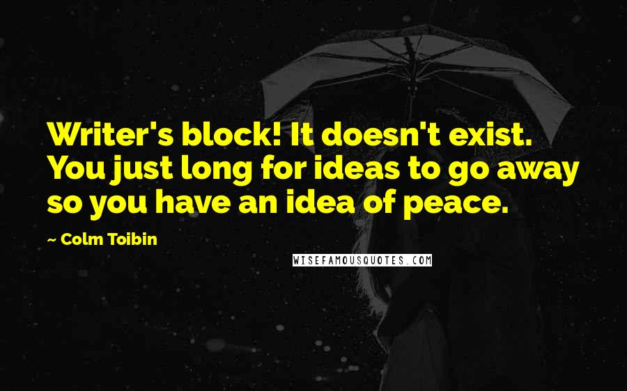 Colm Toibin quotes: Writer's block! It doesn't exist. You just long for ideas to go away so you have an idea of peace.