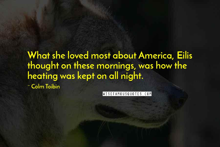 Colm Toibin quotes: What she loved most about America, Eilis thought on these mornings, was how the heating was kept on all night.