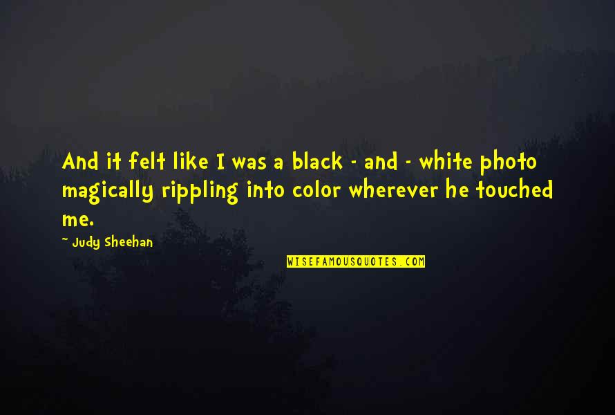 Color Black Quotes By Judy Sheehan: And it felt like I was a black