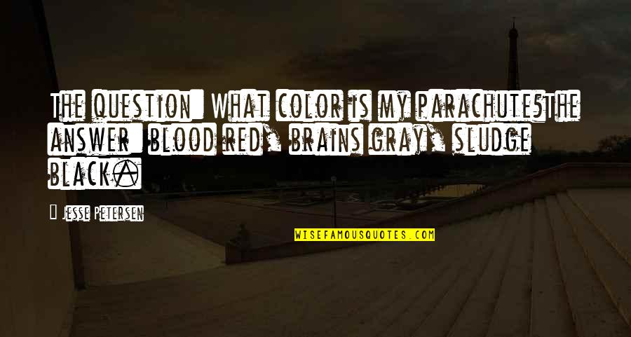 Color Red Quotes By Jesse Petersen: The question: What color is my parachute?The answer: