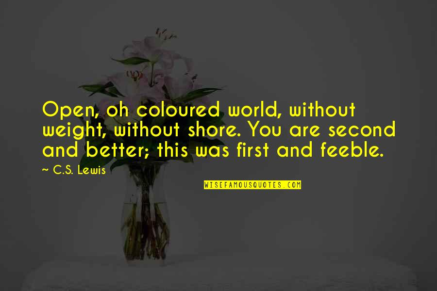 Coloured Quotes By C.S. Lewis: Open, oh coloured world, without weight, without shore.