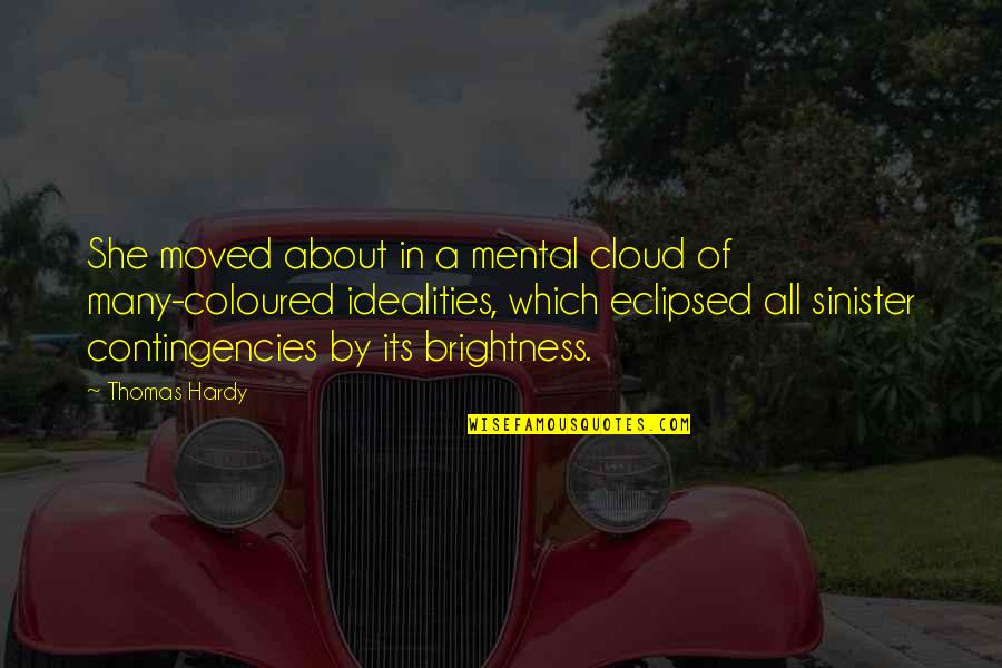 Coloured Quotes By Thomas Hardy: She moved about in a mental cloud of