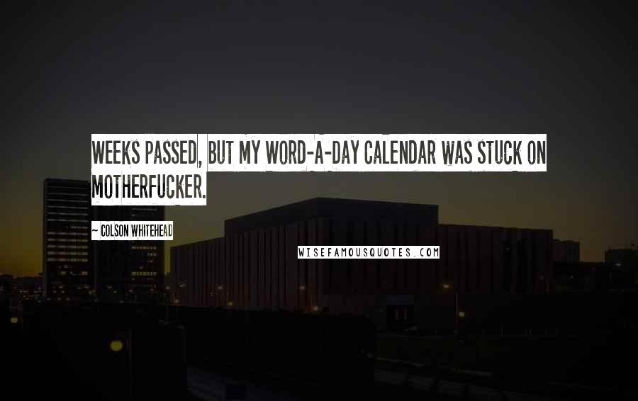 Colson Whitehead quotes: Weeks passed, but my Word-A-Day Calendar was stuck on motherfucker.